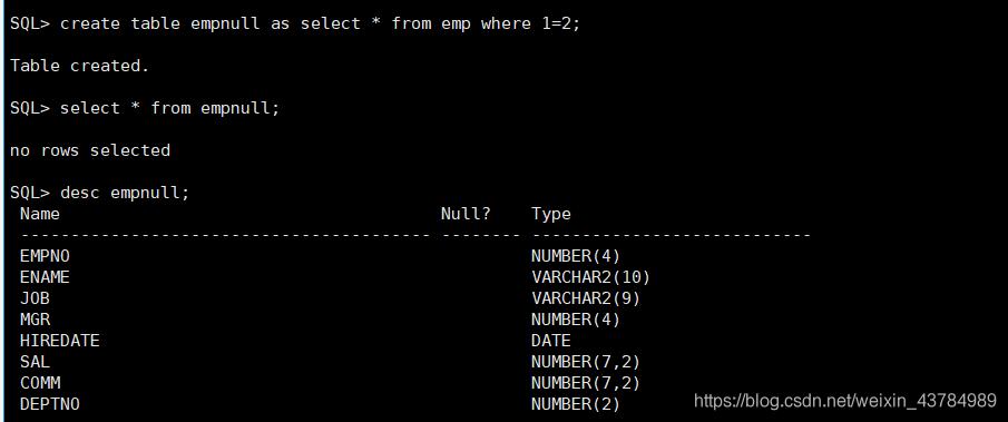 只复制表结构,则表里面就没有东西,但是可以通过desc命令查看表的结构