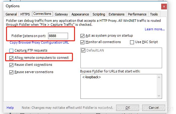 配置代理端口 8888 , 允许远程代理访问