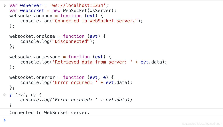 javascripe链接websocket服务器