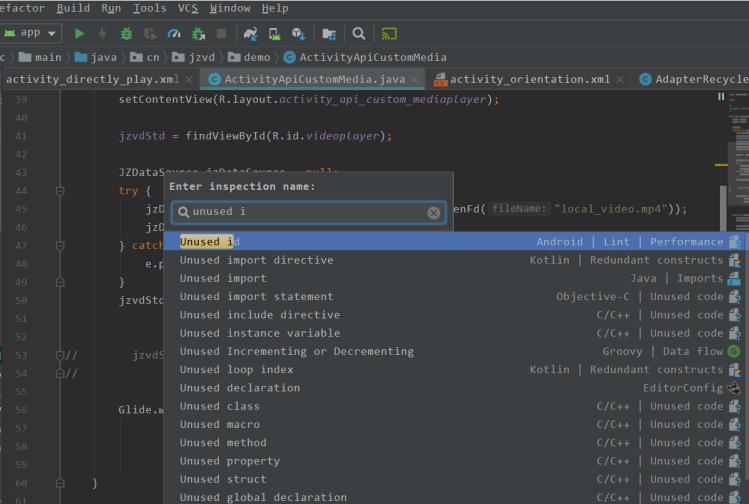 AndroidStudio Analyze->run inspection by name (查找未使用资源和潜在