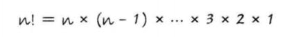 n! = n*(n-1)*(n-2)……3*2*1