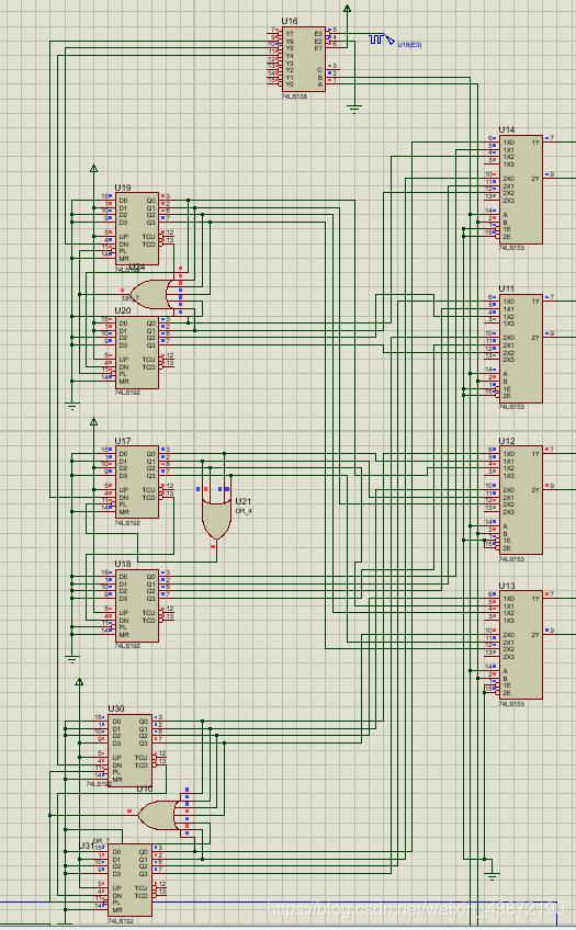 28秒减法计数器、32秒减法计数器、4秒减法计数器以及数据选择器的仿真电路图