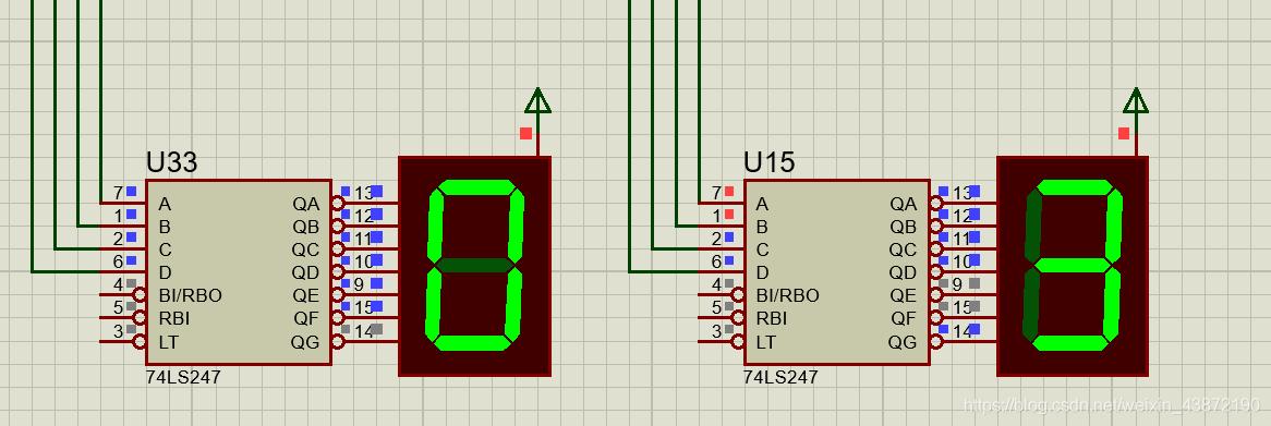 译码电路、红绿灯秒数数码管显示部分的仿真电路图
