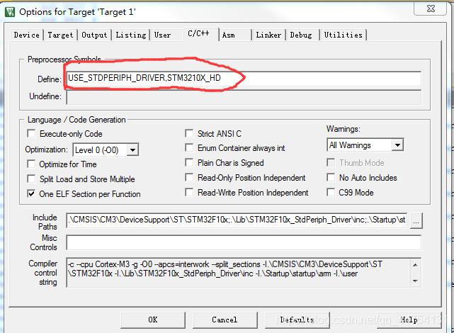 """在C/C++预定义中加入""""USE_STDPERIPH_DRIVER""""就是允许""""使用标准外设驱动""""了。"""