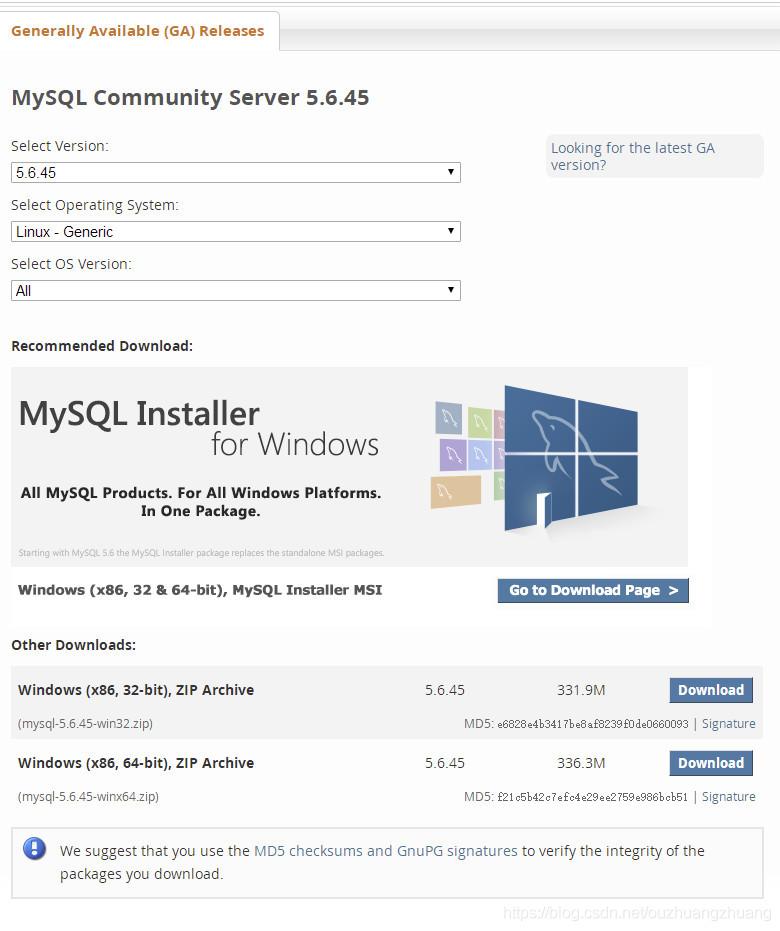 https://dev.mysql.com/downloads/mysql/5.6.html#downloads[外链图片转存失败(img-mJsZWQwZ-1566034103787)(7EA78BD92C7E430EA5A0569231EA908A)]