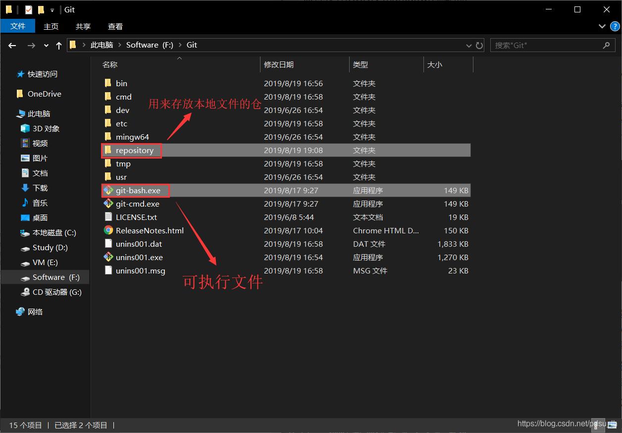 创建repository文件夹并运行git-bash.exe可执行文件