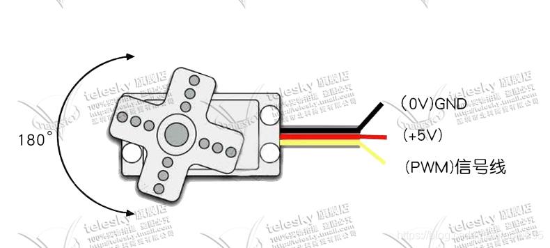 橙色信号线,红色电源正,棕色电源负