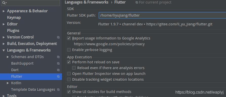 指定Flutter SDK的路径