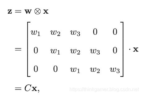 5维向量x与大小为3的卷积核进行卷积