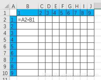 相对引用不能达到小九九乘法效果