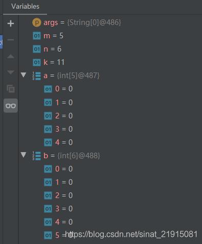 数组a和b的值一直是0