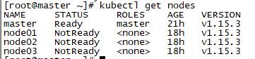 可见图中master节点是Ready,但其他节点依旧NotReady