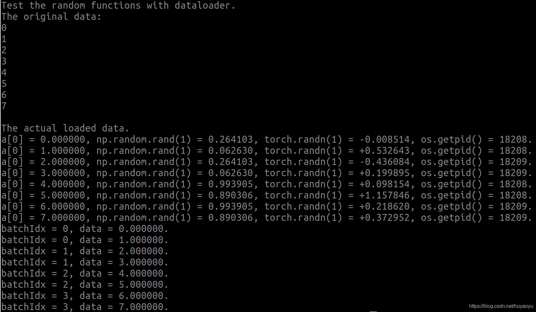 dataloader的随机数输出