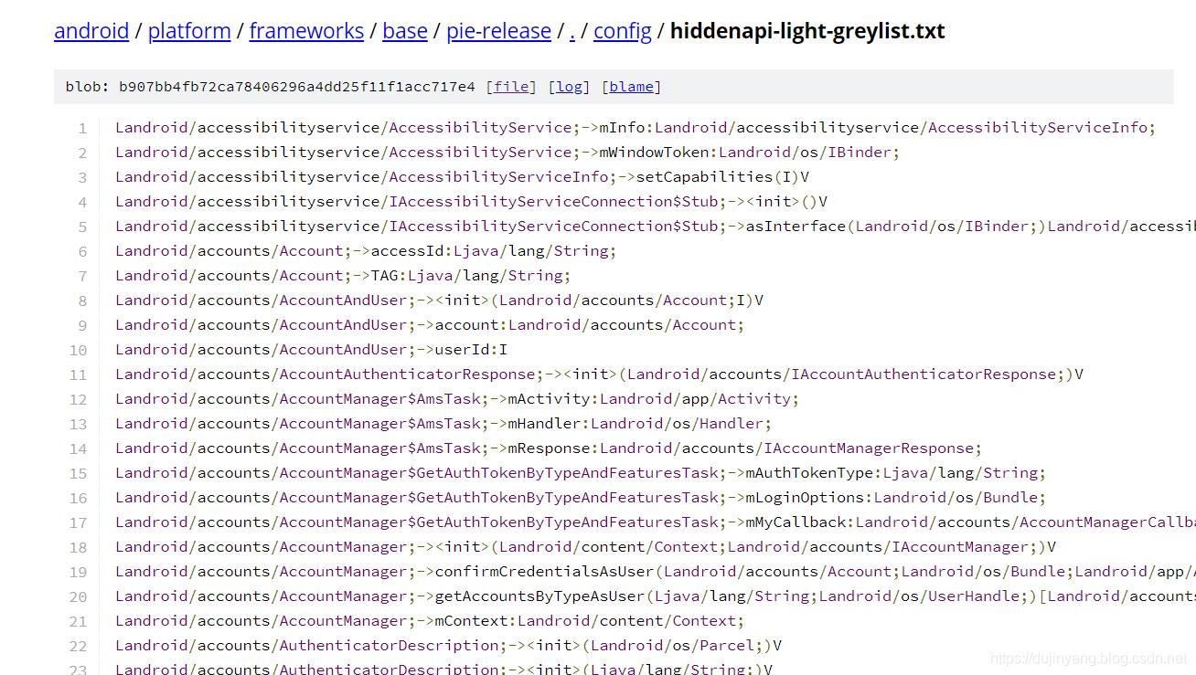 入灰名单的非受限 API 的列表
