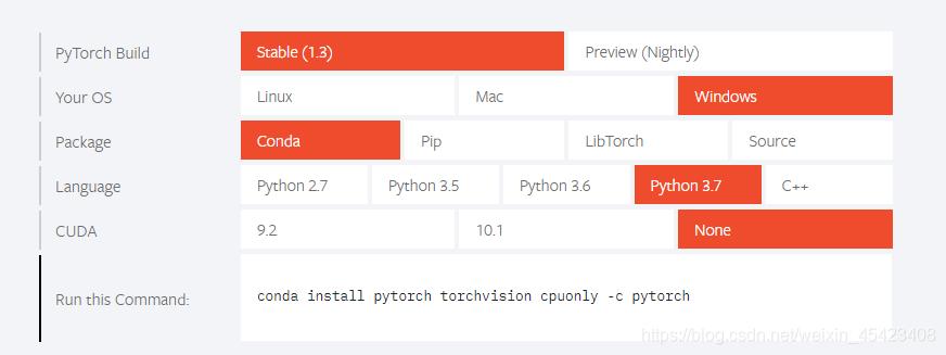 pytorch官网上选择合适的版本,None表示CPU安装