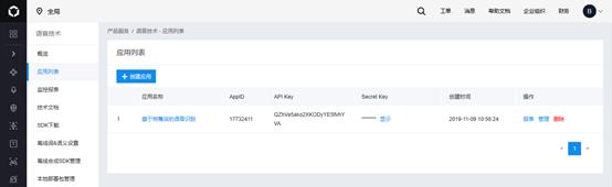 创建应用获取ID号和密钥