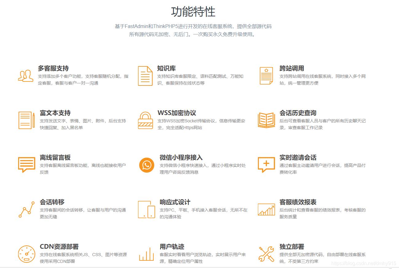 thinkphp在线客服系统功能图