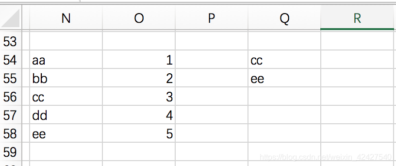 如图,O58为已知数据,查找Q55对应值填写到R列中