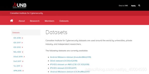 CIC-IDS数据集官网