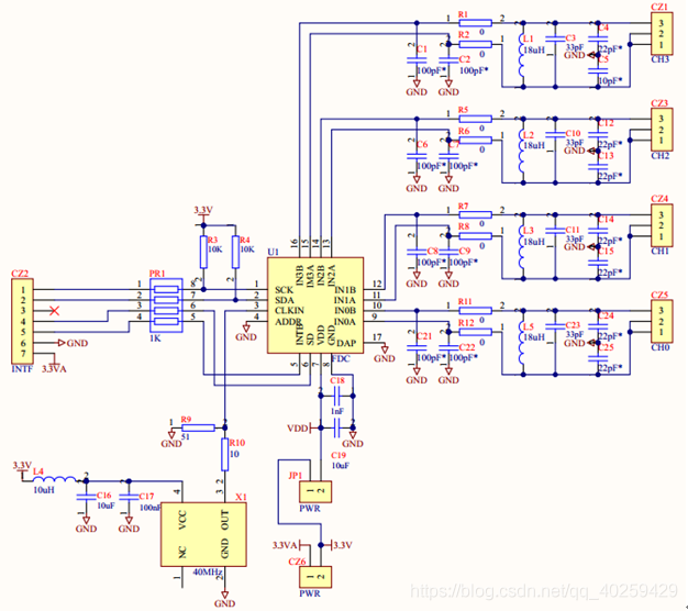 图4 FDC2214模块电路设计