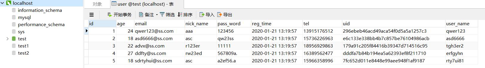 user表中成功插入5条记录