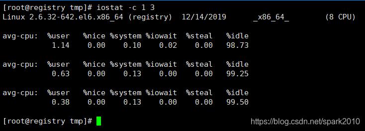 该命令表示显示CPU统计信息,每隔1秒输出,总共输出3次