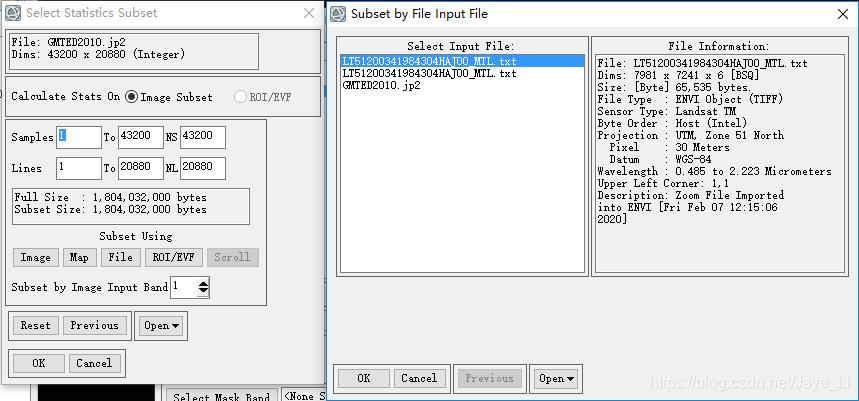 Select Statistics Subset对话框