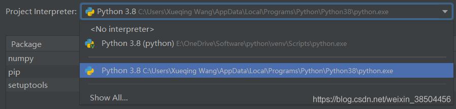 Project Interpreter中添加python路径,一个是Scripts里面的,这个路径下安装numpy迟迟不成功;另一个是C盘的路径,这个路径下安装成功