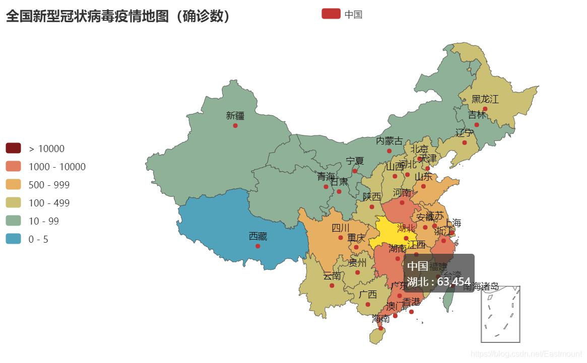 [Pyhon疫情大数据分析] 二.PyEcharts绘制全国各地区、某省各城市疫情地图及可视化分析