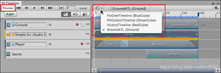 Timeline Preview button with Timeline Selector and menu. Selecting a Timeline instance automatically enables the Timeline Preview button.