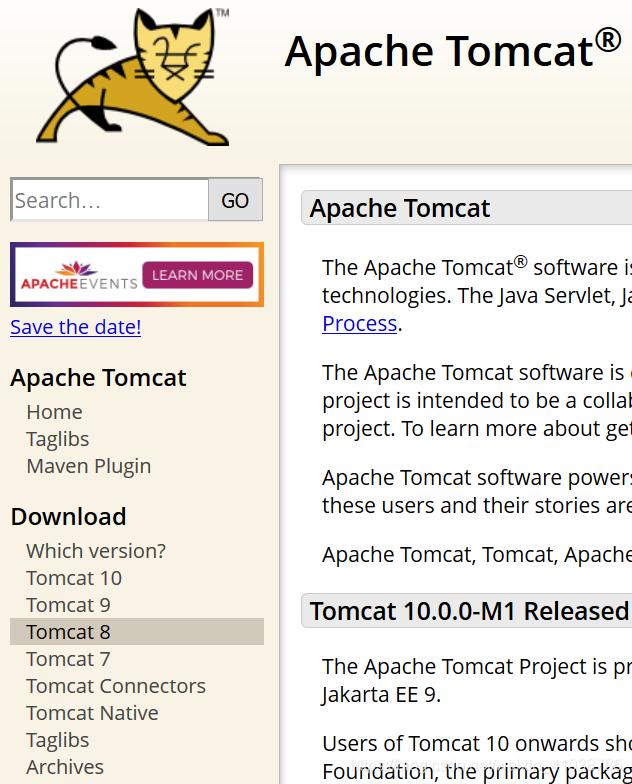 选择想要下载的版本,这里我下载的是Tomcat8,目前比较常用的一个版本