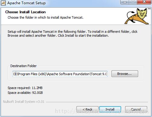 点击next,之后会出现Tomcat安装路径选择,一般默认安装到C盘,可以直接把C改成D,没有的文件夹会自动创建。修改完毕后点击Install