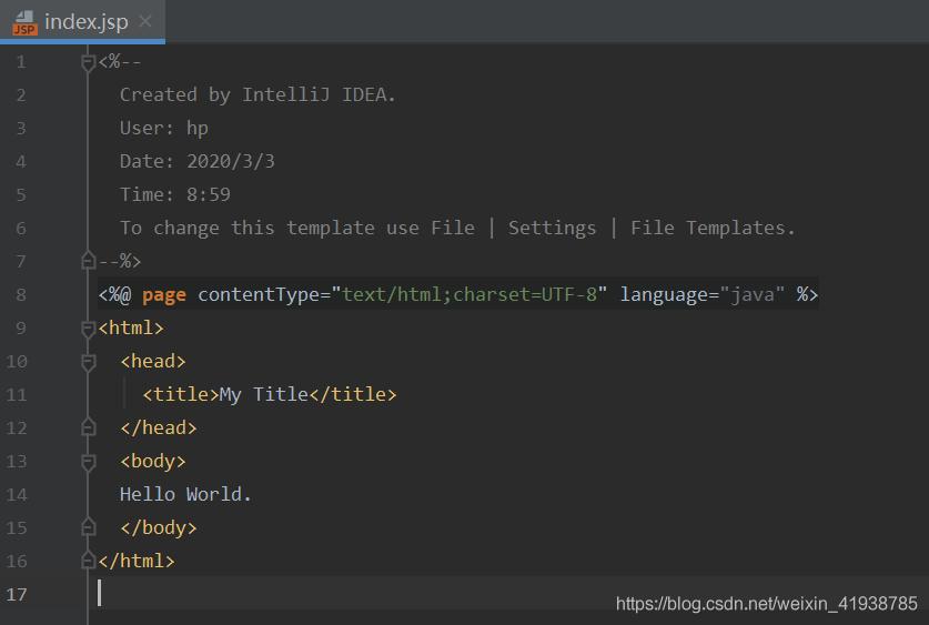 都配置完成后我们转到项目目录下,点击index.jsp文件,将body里添加一些信息用来测试JavaWeb项目是否可以成功运行