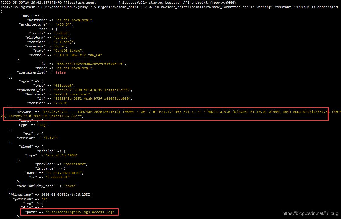 logstash的控制台 可以看到相应的访问access.log 日志
