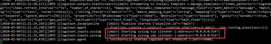 可以看到logstash启动以后开启了514端口的tcp和upd协议的侦听