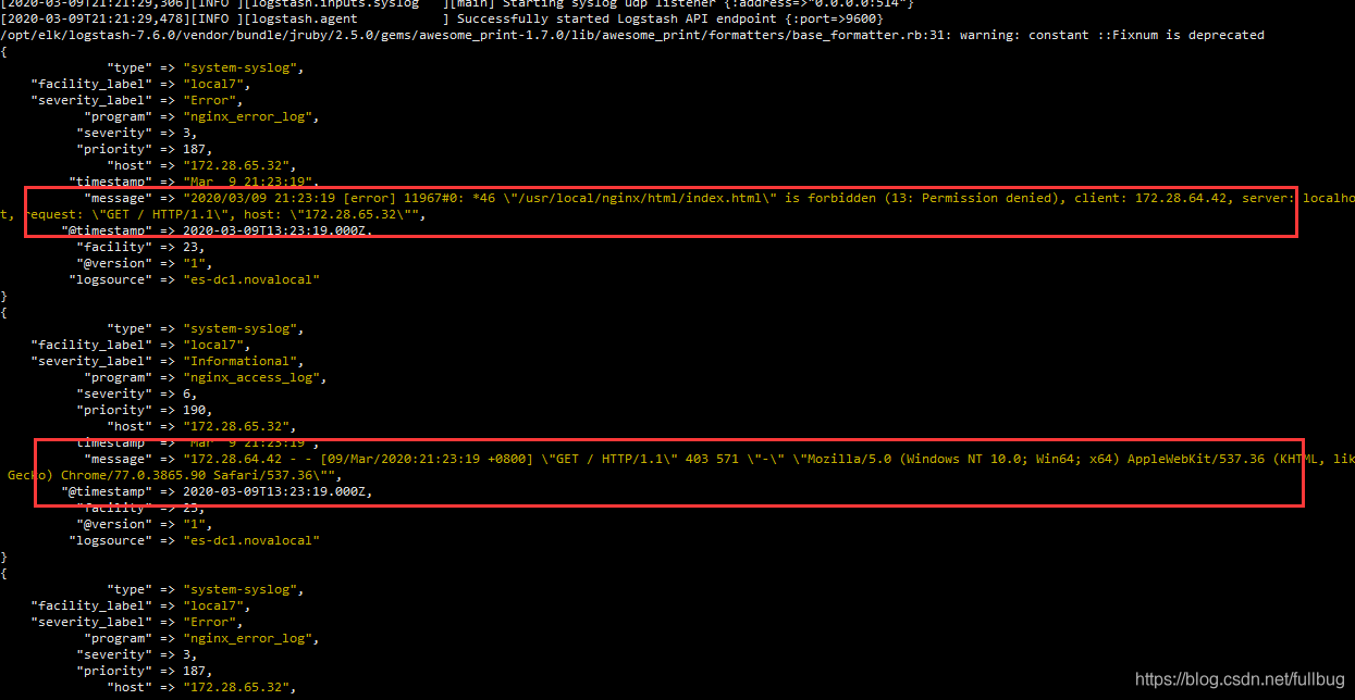 logstash的控制台可以看到相应的nginx访问access和error的日志