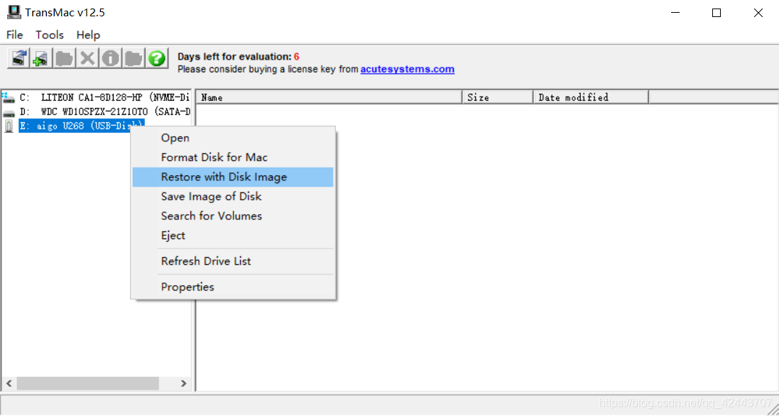 Restore with Disk Image