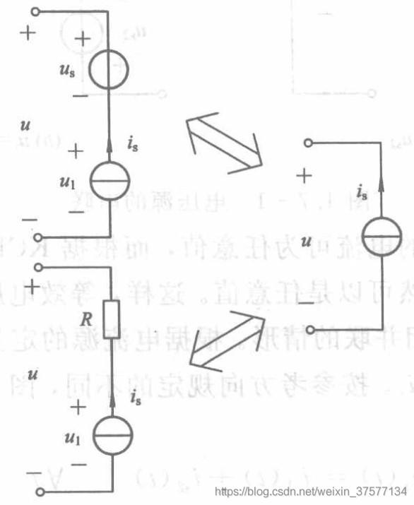 电流源与电压源或电阻串联