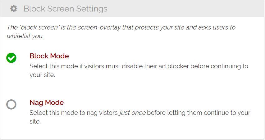 Block Screen Settings