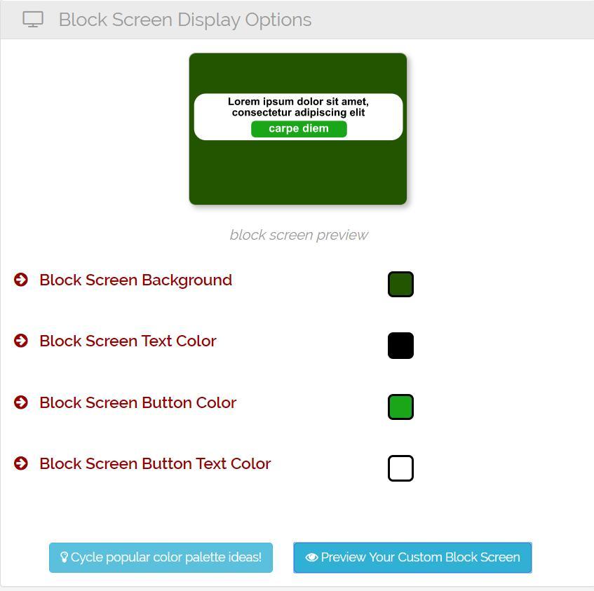 Block Screen Display Options