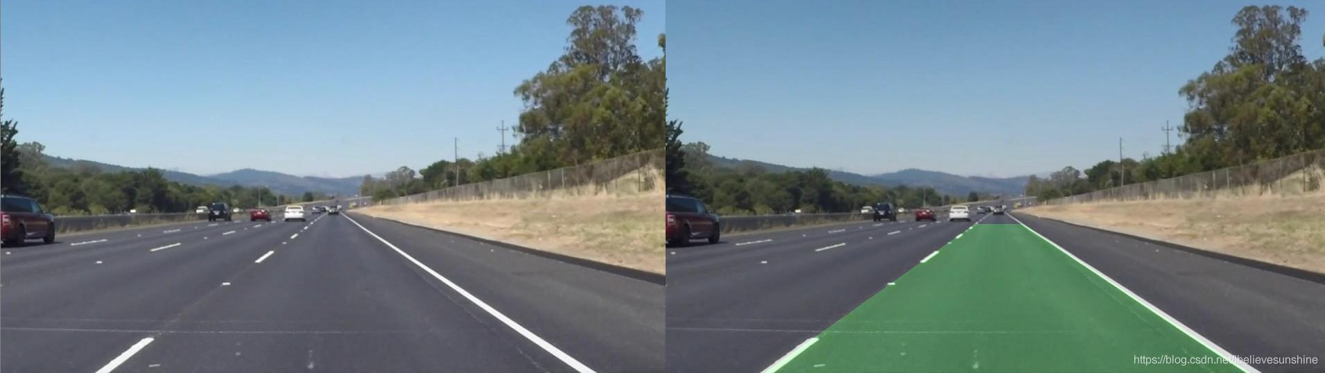左图:原图;右图:车道检测结果