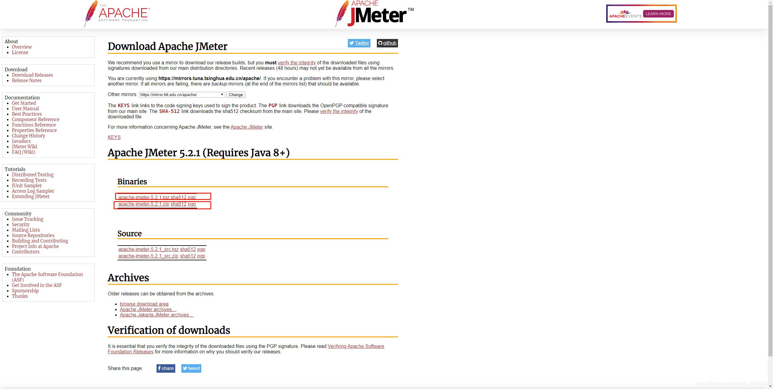 JMeter下载页
