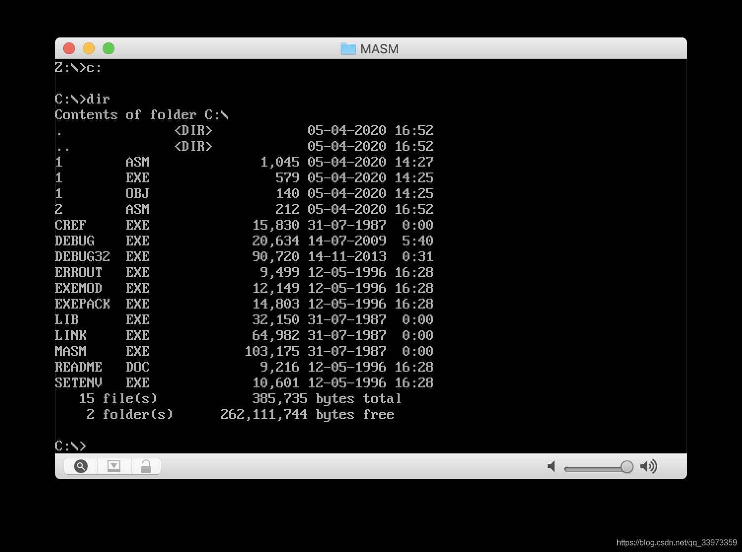 挂载成功后,切换到c盘,并列出当前文件夹内容