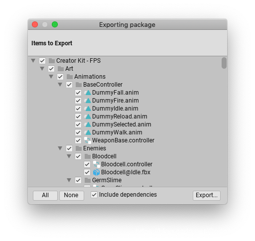 Exporting Package dialog box