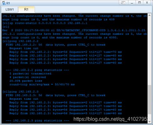 图4:配置缺省路由且pingPC1 PC2