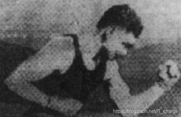 1921年由电报打印机采用特殊字体在编码纸带上产生的数字图片
