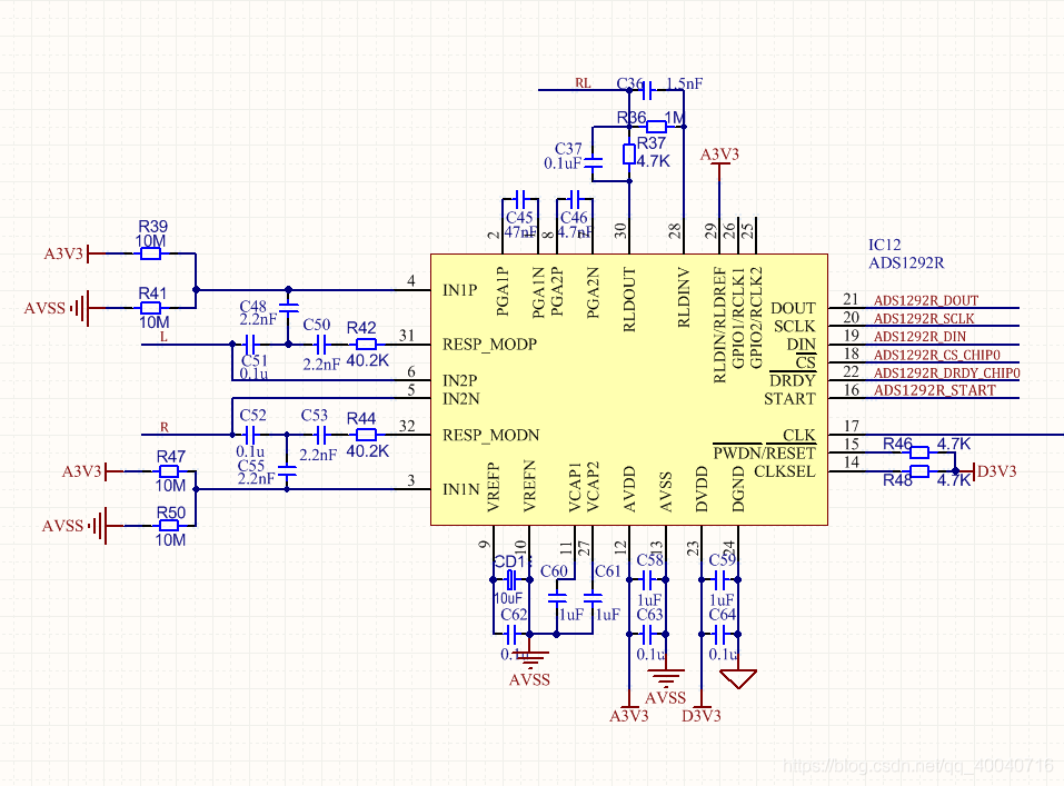 ADS1292R部分原理图设计