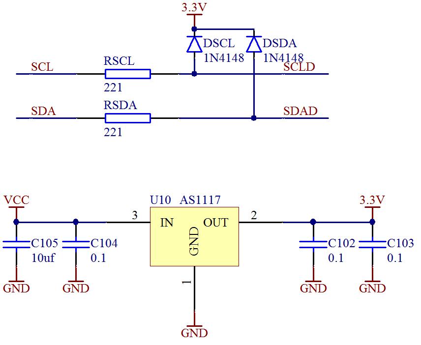 ▲ 电源电路与I2C总线接口电路