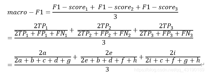 macro-F1=(〖F1-score〗_1+ 〖F1-score〗_2+〖F1-score〗_3)/3=((2〖TP〗_1)/(〖2TP〗_1+〖FP〗_1+〖FN〗_1 )+ (2〖TP〗_2)/(〖2TP〗_2+〖FP〗_2+〖FN〗_2 )+(2〖TP〗_3)/(〖2TP〗_3+〖FP〗_3+〖FN〗_3 ))/3=(2a/(2a+b+c+d+g)+ 2e/(2e+b+d+f+h)+2i/(2i+c+f+g+h))/3