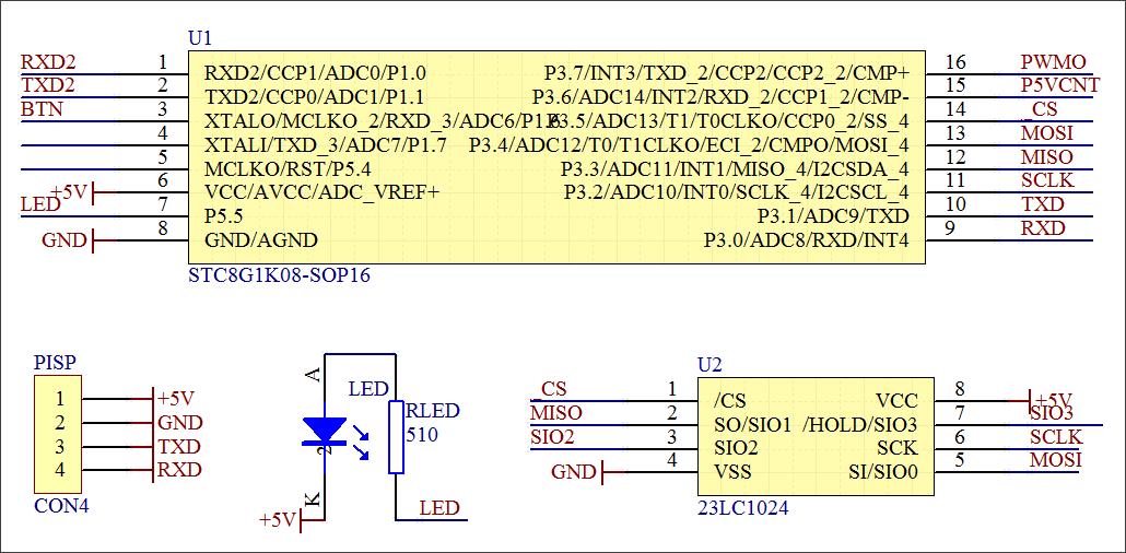 ▲ CPU以及外部RAM电路